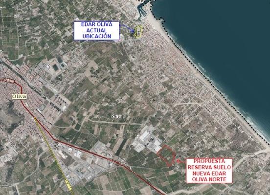La nueva ubicación para la depuradora de Oliva recibe el informe favorable de la Generalitat