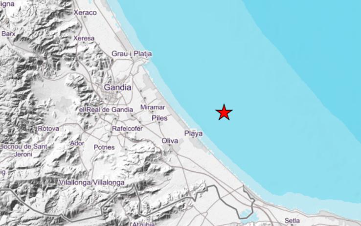 Registrado un pequeño terremoto en el mar frente al municipio de Oliva